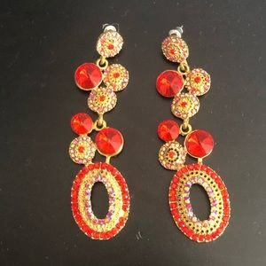Le Chateau red chandelier earring